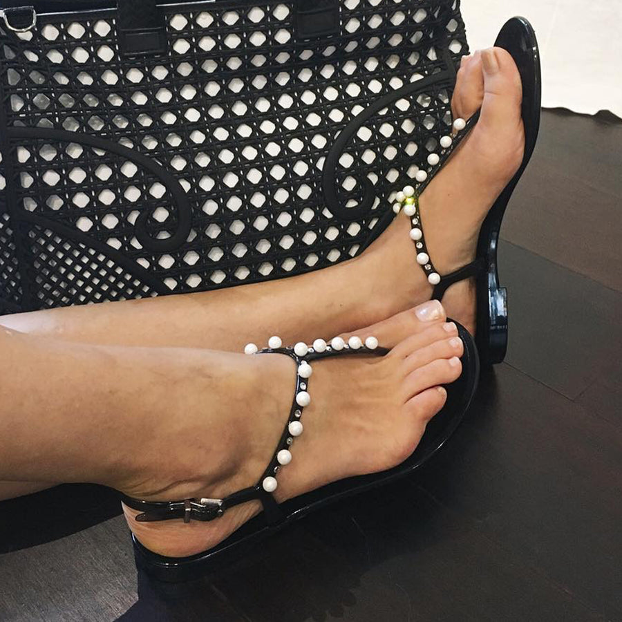 7445aa303 Smoky Black Jelly Sandals with Pearls