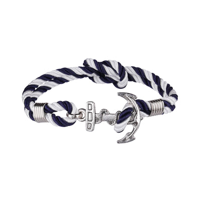 Double White Navy Nod Anchor Bracelet - Bohology