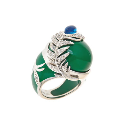 Rhodium Green 'Peacock' Ring