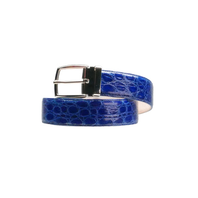 3.5cm Electric Blue Crocodile Belt - Bohology