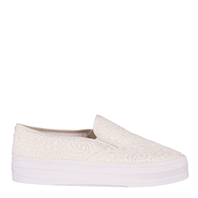White Lace Slip-On Sneakers (EU41)