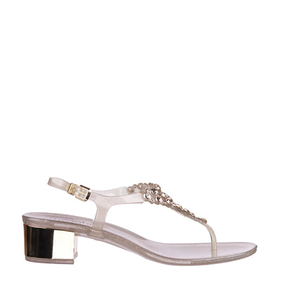 Transparent Gold Swarovski Jelly Heel Sandals