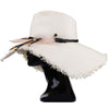 Large White Fringed Hat With Feathers