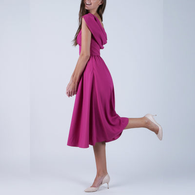 Fuchsia Draped Dress (Size XS/EU40)