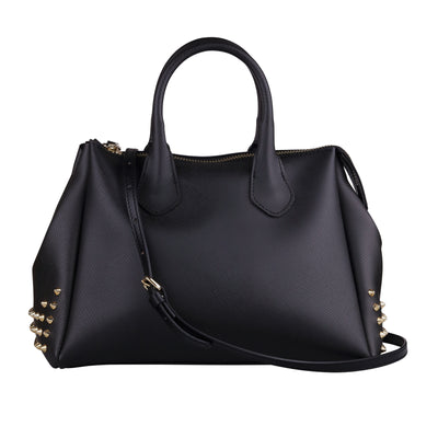 Black Rubber Bag With Gold Studs