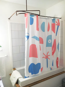 Marc-Olivier Lamothe, mural, illustrateur, artiste, montreal, rideau de douche, shower curtain, artist, home decor, home accent, bathroom, bathroom design, artwork, design, print, playful chaos, sherbrooke, fun, handmade, costume de bain