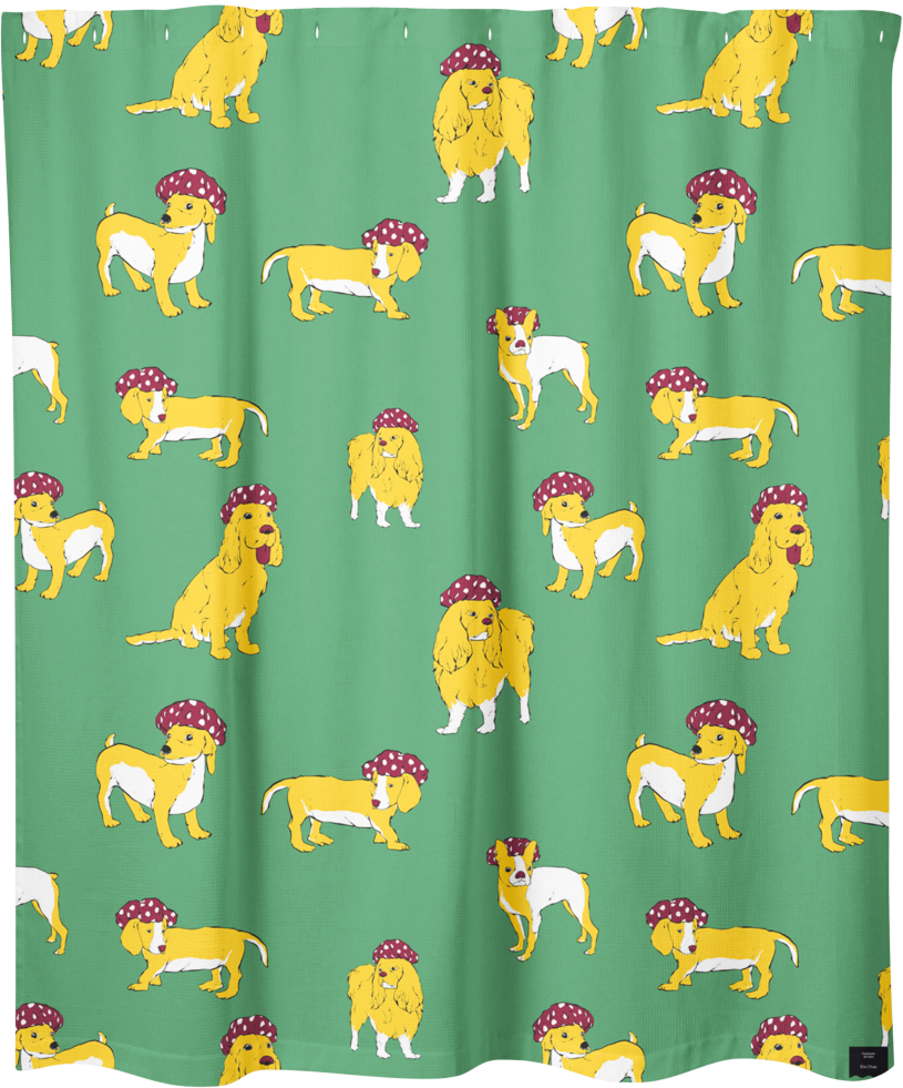 Elie Chap, illustrateur, artiste, montreal, rideau de douche, shower curtain, artist, home decor, home accent, bathroom, bathroom design, artwork, design, print, dogs, chiens