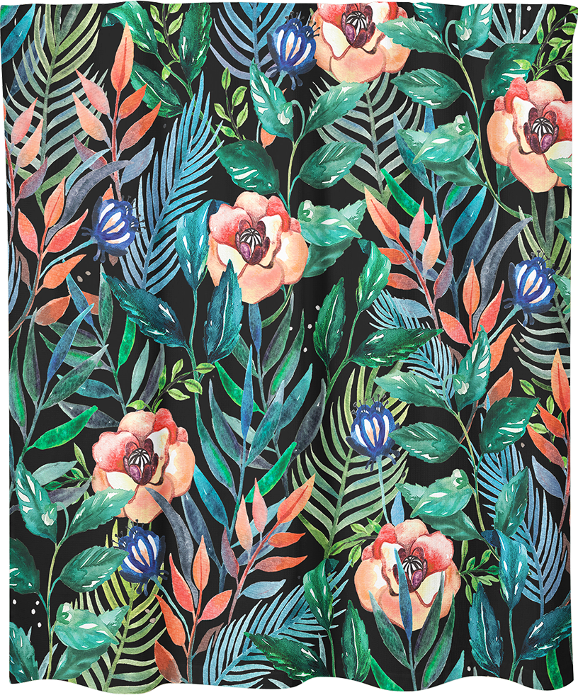 MC Marquis, Marie-Claude Marquis, illustrateur, artiste, montreal, rideau de douche, shower curtain, artist, home decor, home accent, bathroom, bathroom design, artwork, design, print, floral, tropical, handmade, costume de bain