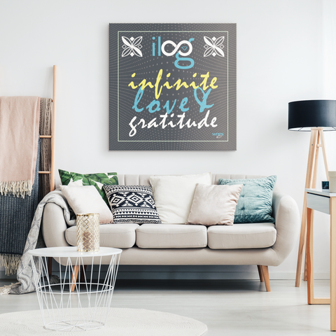 Infinite Love & Gratitude Gray Hanging Canvas