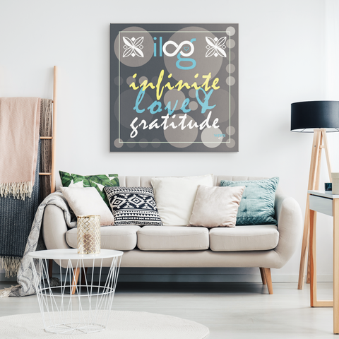 Infinite Love & Gratitude Gray Bubbles Hanging Canvas