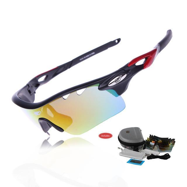 fc92a8243f AllOutActive Black Red   China COMAXSUN Professional Polarised Cycling  Sunglasses with 5 Lenses