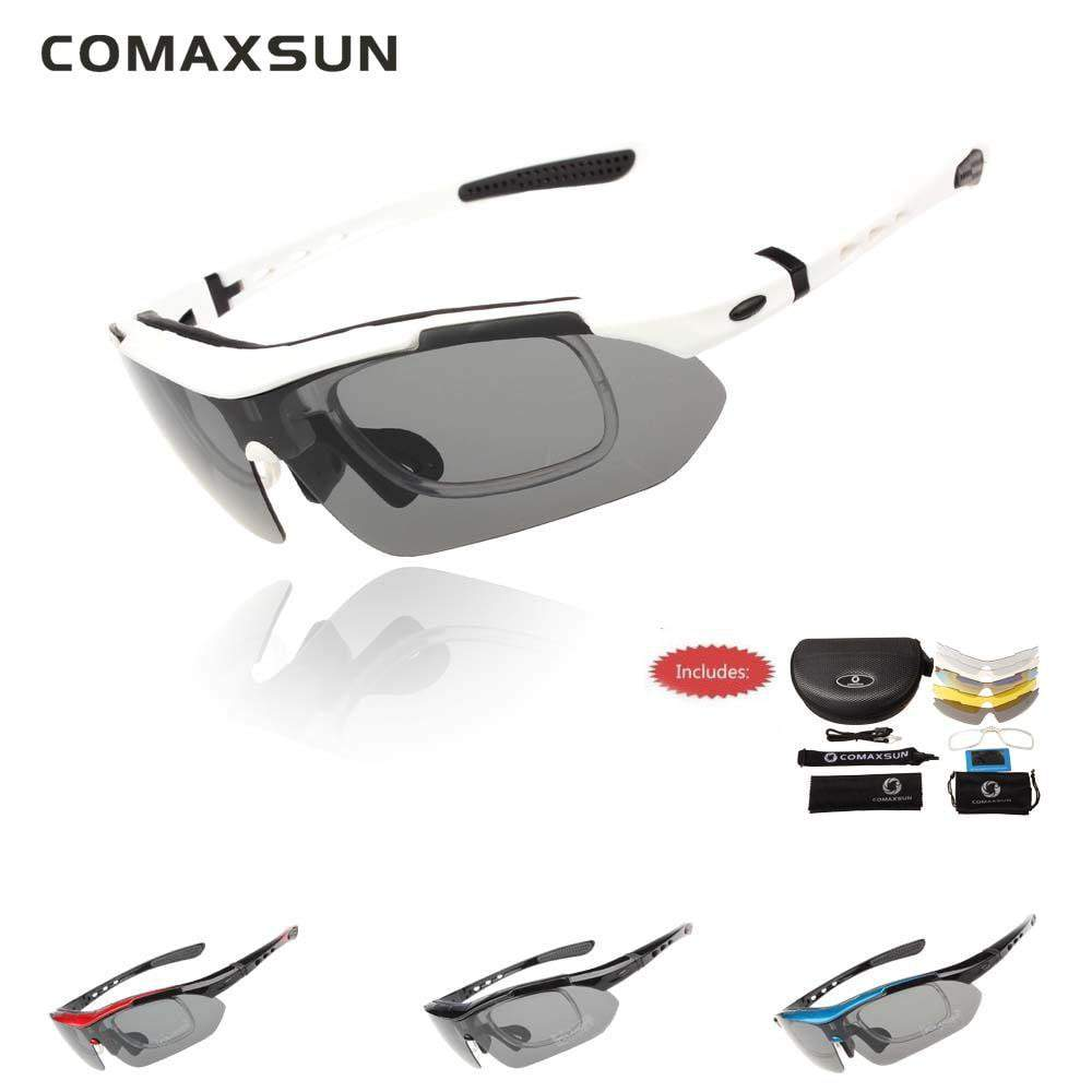 47a112f851 COMAXSUN Professional Polarised Cycling Goggles with 5 Lenses