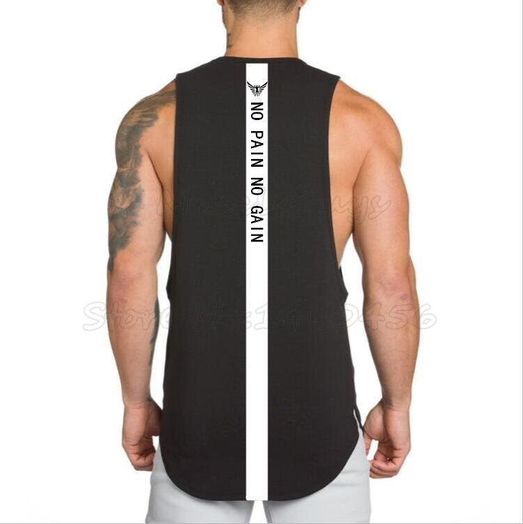 f4843234149a1 NO PAIN NO GAIN Mens O Neck Fitness Stringer Vest