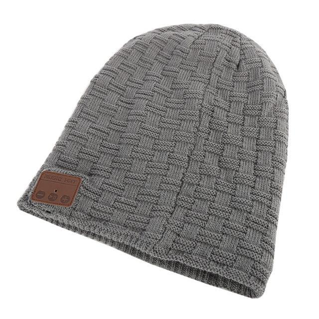 66105f7634 AllOutActive small grid Grey   One Size Wireless Bluetooth Beanie Knitted  Winter Running Hat