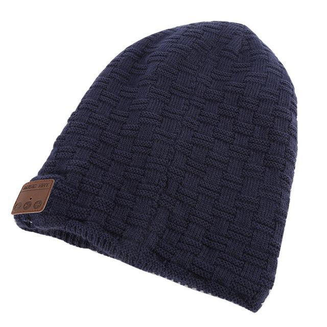 d51fff1b6a AllOutActive small grid Navy   One Size Wireless Bluetooth Beanie Knitted  Winter Running Hat