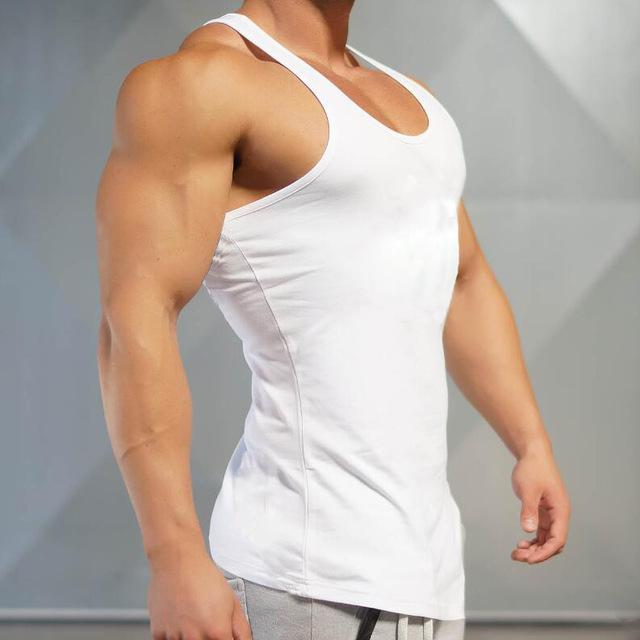 32441cc61799b AllOutActive White   L Solid Colour Mens Bodybuilding Muscle Tank Top