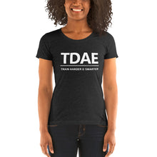 "Load image into Gallery viewer, Women's T-Shirt ""Train Harder & Smarter"" (Bella + Canvas) - TD Athletes Edge"