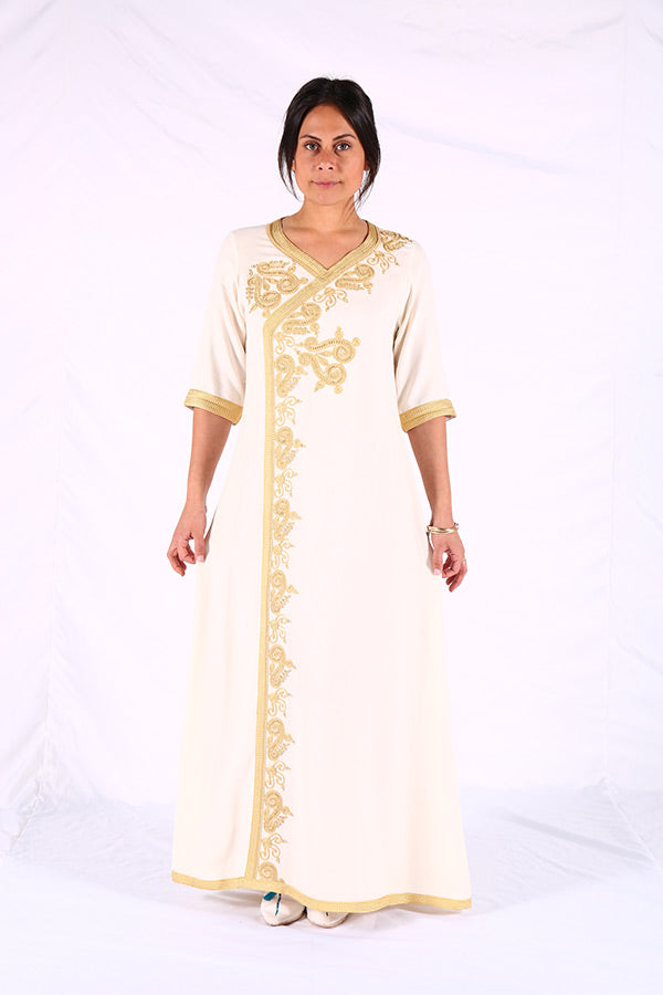 Light Moroccan Kaftan Creamy Traditional Moroccan Women Clothing