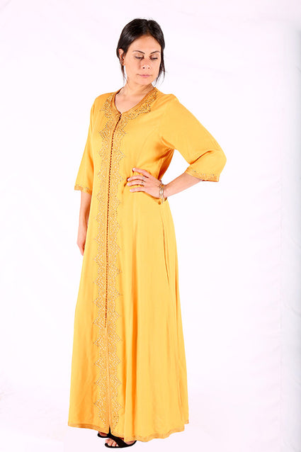 Bright & Light Chrome Yellow Moroccan Caftan
