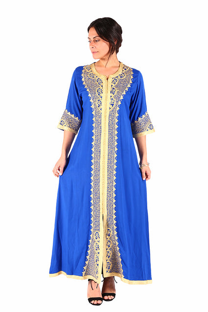 Blue & Cream Traditional Moroccan Caftan from Women Clothing