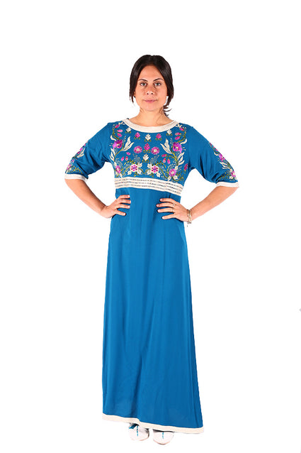 Beautiful Floral Print Moroccan Caftan Traditional Moroccan Women Clothing