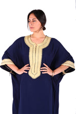 Navy Blue Umbrella Style Beautiful Stunning Moroccan Caftan Modern Style