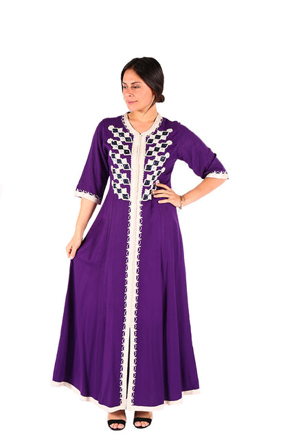 Traditional Style Beautiful White & Purple Moroccan Caftan 2018