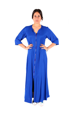 Simple & Sober Blue Stunning Moroccan Caftan from Traditional Moroccan Women Clothing