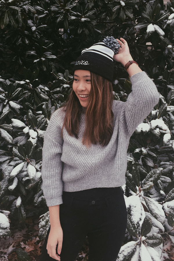 hcxo Embroidered Pom Beanie