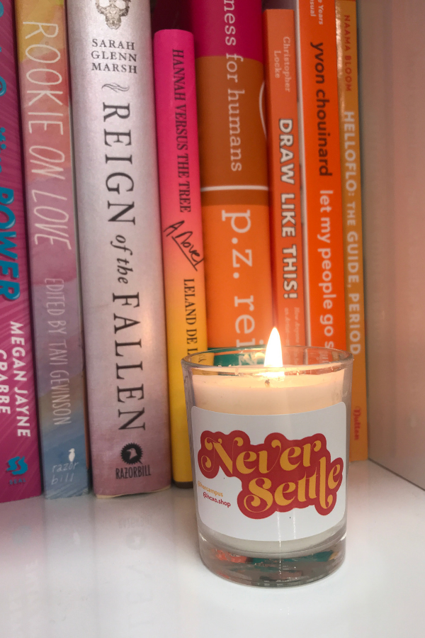 Never Settle Candle