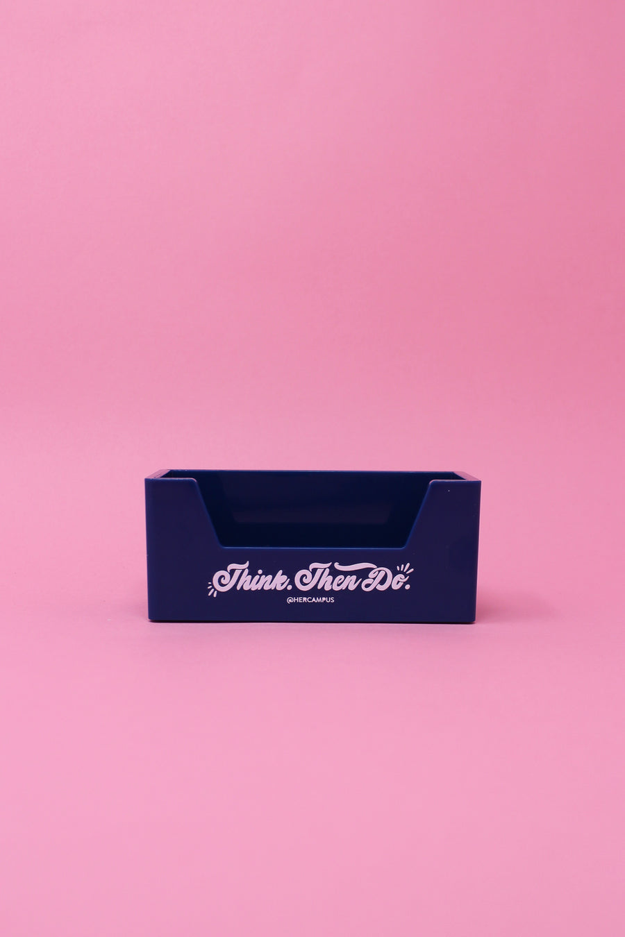 """Think. Then Do."" Business Card Holder - Blue"