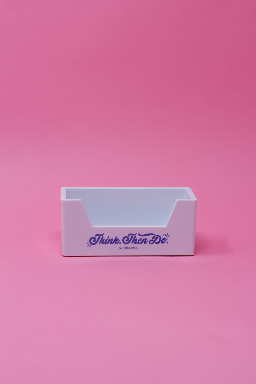 """Think. Then Do."" Business Card Holder - White"