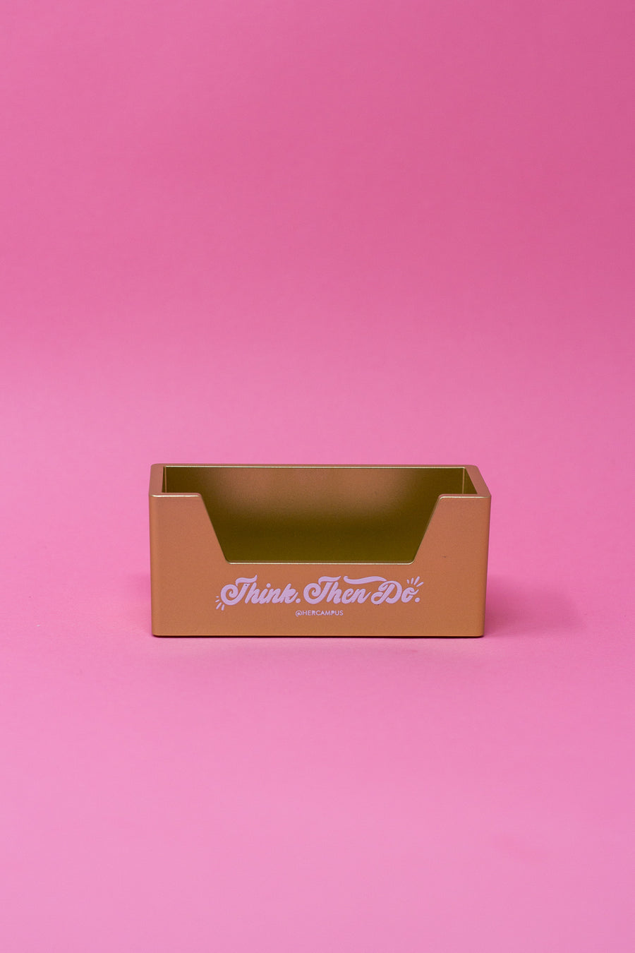 """Think. Then Do."" Business Card Holder - Gold"