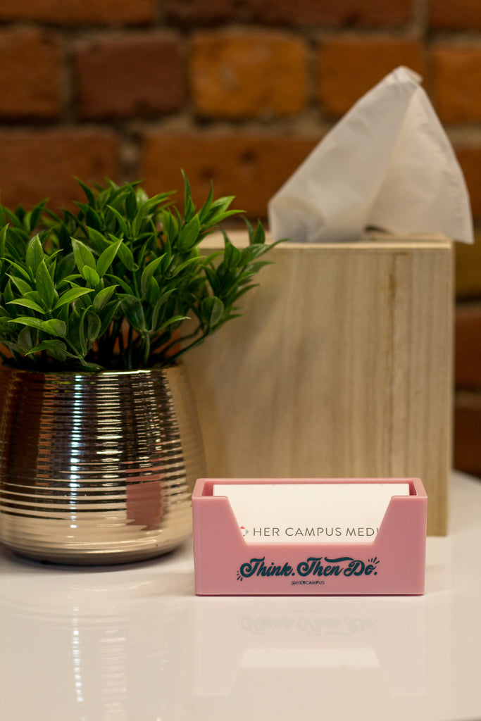 """Think. Then Do."" Business Card Holder - Pink"