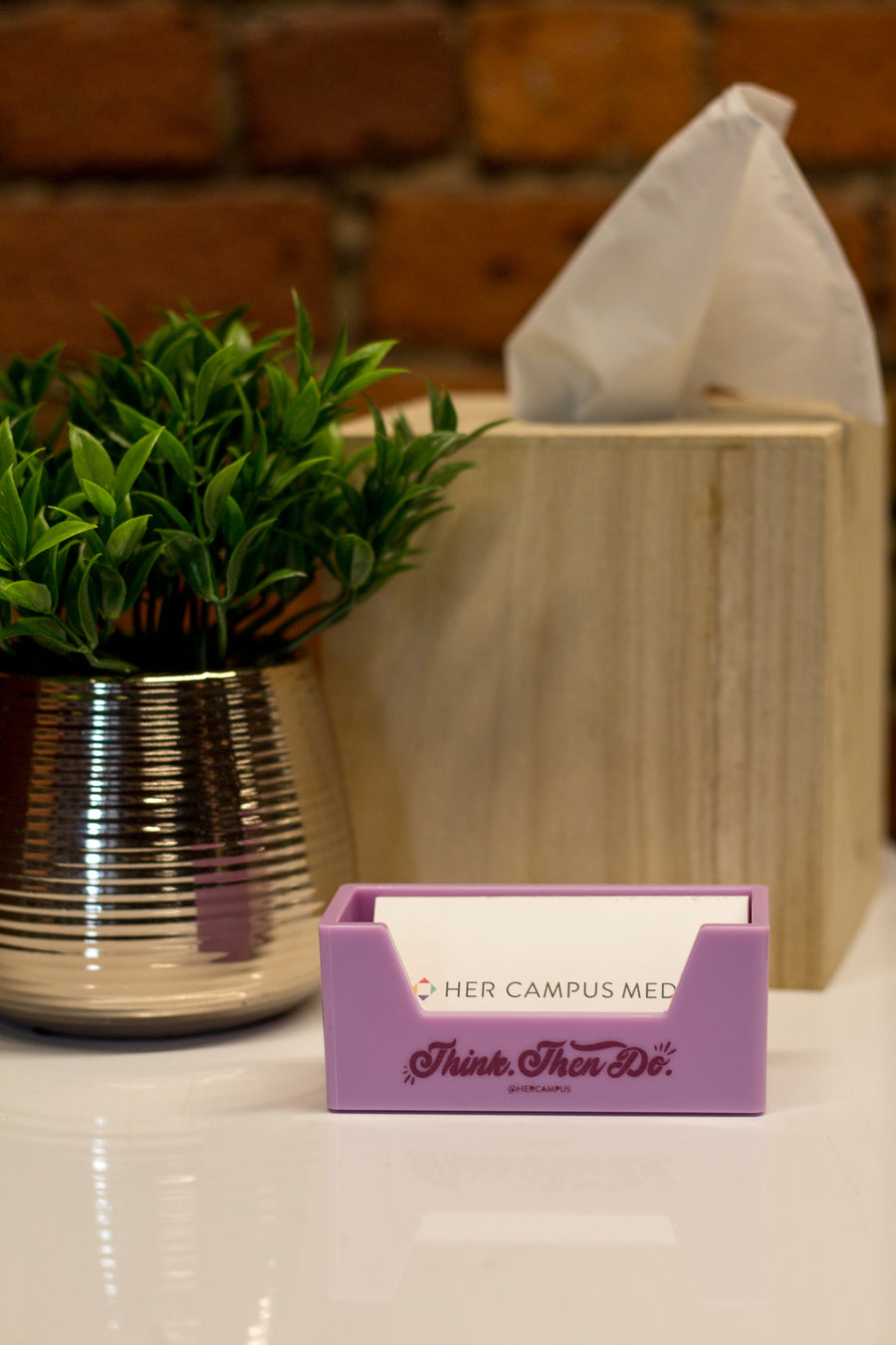 """Think. Then Do."" Business Card Holder - Purple"