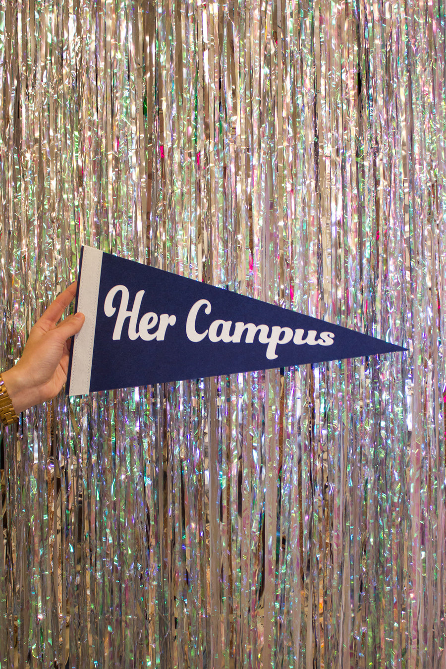 Her Campus Pennant - Navy and White