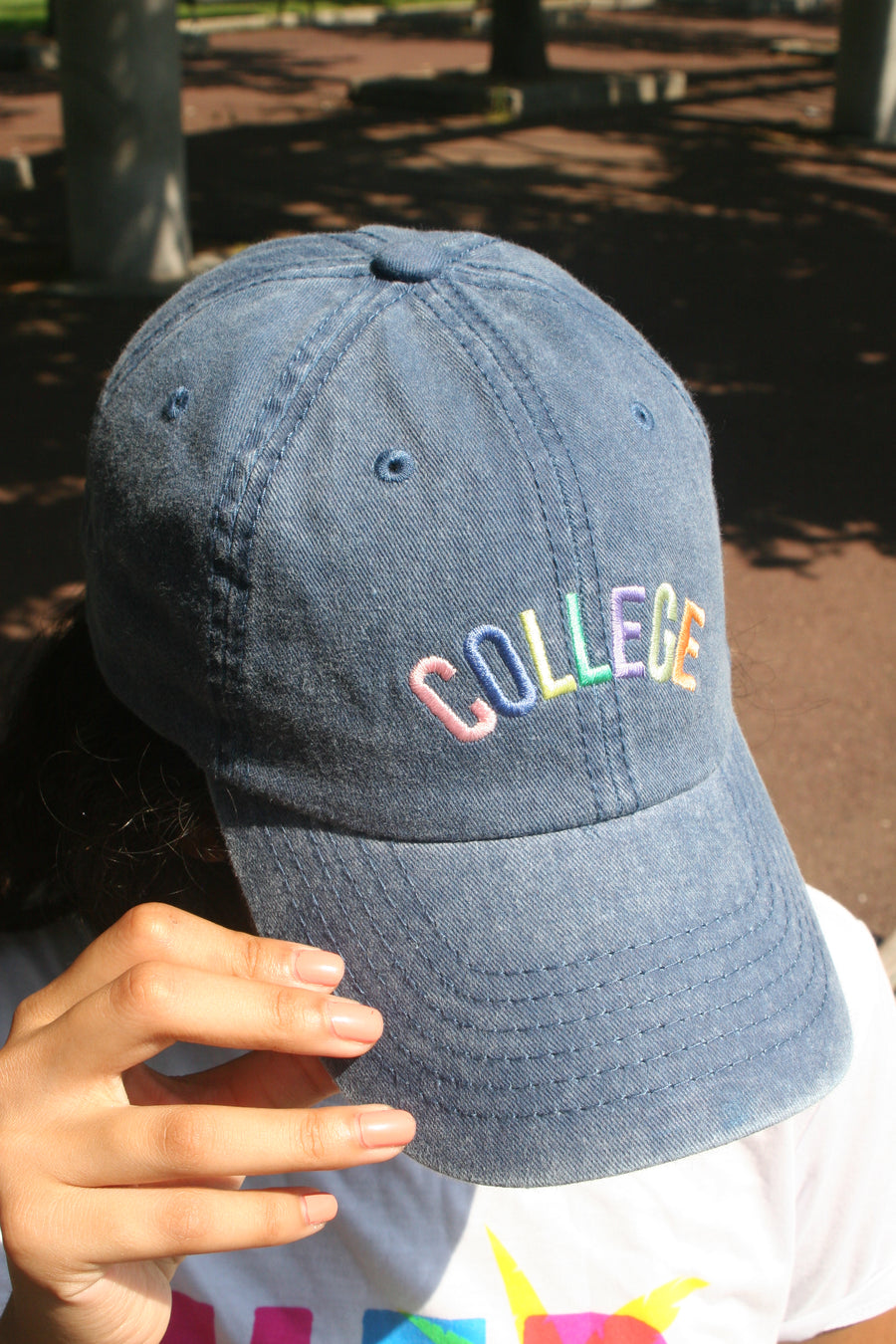 "Navy Colorful ""College"" Cap"