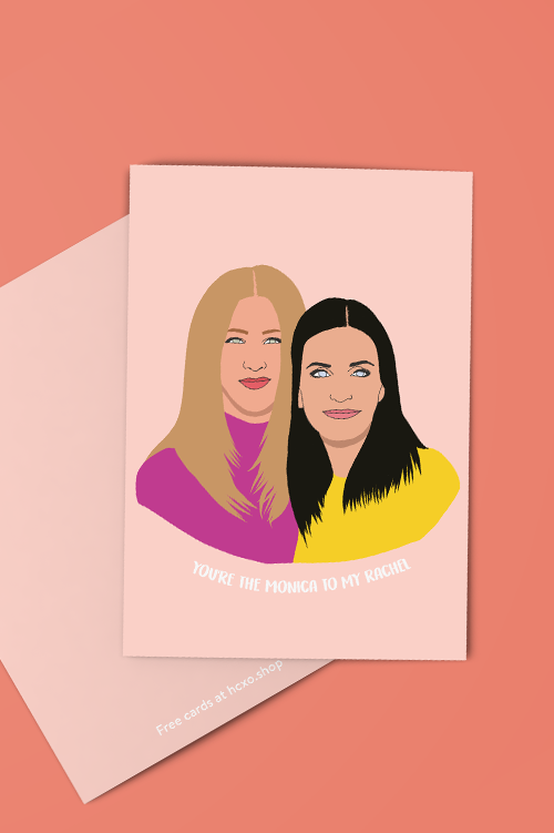 Monica to My Rachel BFF Greeting Card - Peach