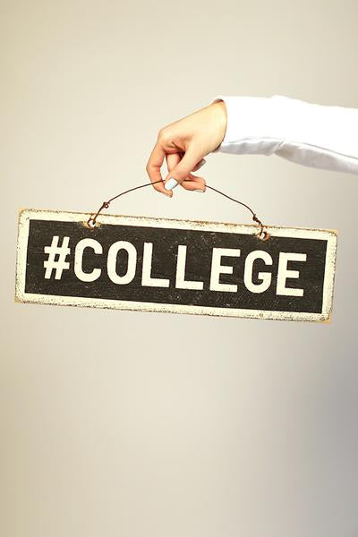 #college Distressed Wooden Sign
