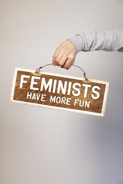 """Feminists Have More Fun"" Distressed Wooden Sign"