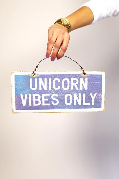 """Unicorn Vibes Only"" Distressed Wooden Sign"
