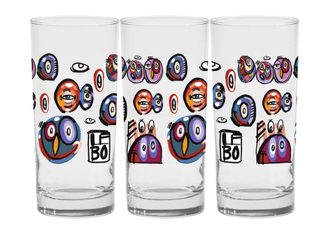 Glassy Eyes - Premium Set of 4 Deluxe Coolers - Lebo Glassware (SOLD OUT)