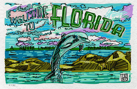 Welcome to Florida (Everglades)  - 24hr Limited Edition Sketchbook Print
