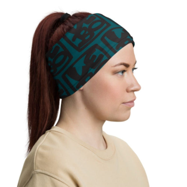 Teal & Black  Medium Lebo Print - Lebo Face & Neck Gaiter