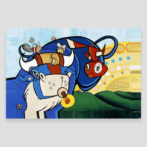 Recorded Live - Blue Bull Bouncing - LEBO Vintage Series - shop.leboart.com