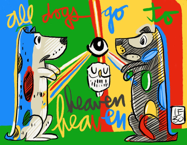 All Dogs Go To Heaven - Timed Release - Lebo Paper Sketchbook Print 8.5x11""