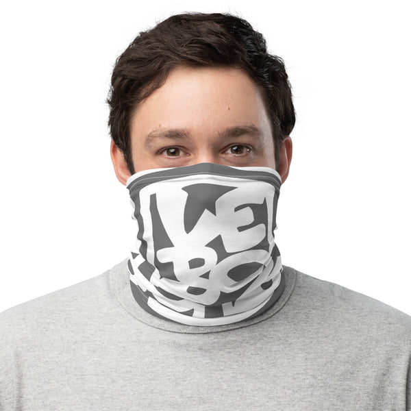 Grey and White Large Lebo Print - Lebo Face & Neck Gaiter