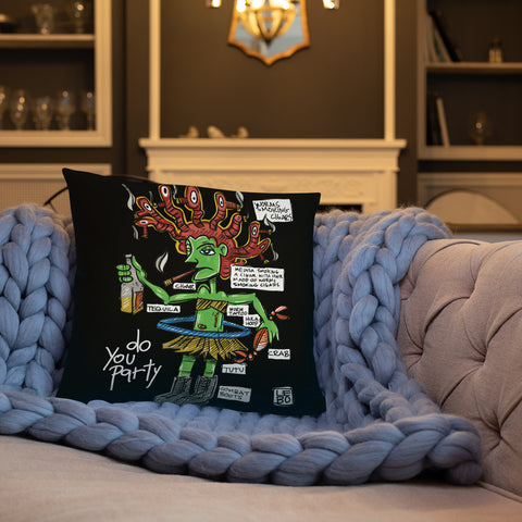 Medusa Smoking a Cigar - Lebo Premium Throw Pillow