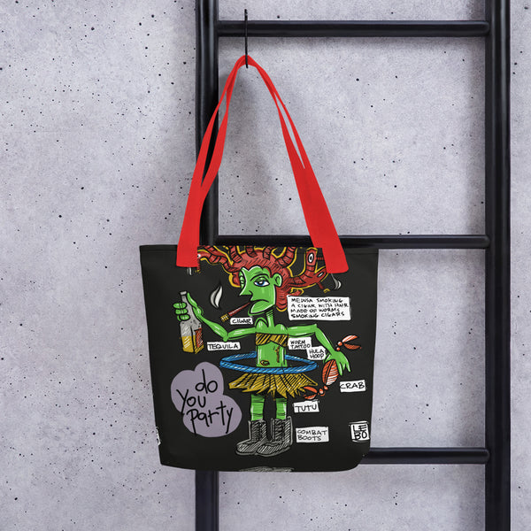 Treasures and Pleasures - Medusa Smoking a Cigar - Lebo Tote bag