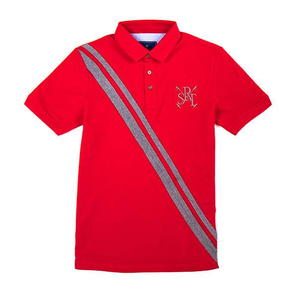 Sarto Avner red fashion short sleeve polo with diagonal stripes and embroidery